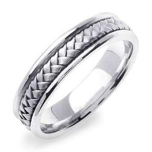XERXES 14K White Gold Braided Wedding Band Ring Jewelry