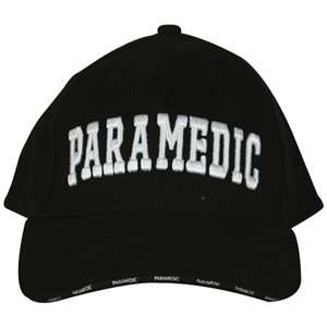 Black Paramedic Embroidered Deluxe 3 D Ball Cap   Adjustable Hat