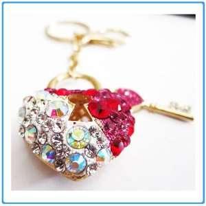 1x Crystal Rhinestone Red Heart Keychain/Necklace/Purse