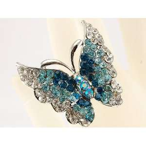 Blue Sparkle Silver Tone Flying Butterfly Hand Costume Adjustable Ring