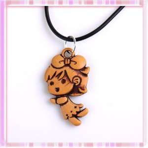 Lovely Little Girl Cartoon Acrylic Pendant Hide Rope Necklace Chain 1