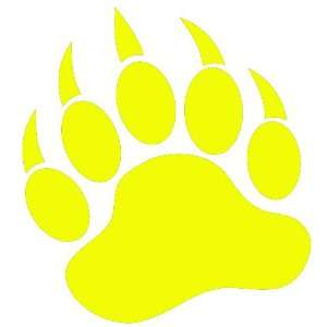 GRIZZLY BEAR PAW PRINT   Vinyl Decal Sticker 5 YELLOW Automotive