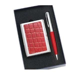 PVC Crocodile Pattern Chrome Plated Metal Card Case with Inside Clip