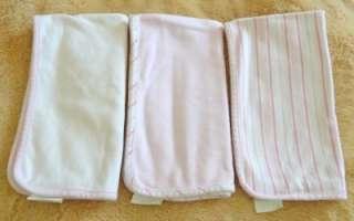 POTTERY BARN KIDS PINK BABY BIB & BURP CLOTH 6 PC LOT