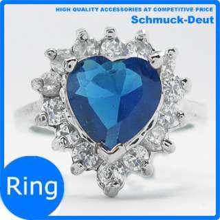 XMAS GIFT JEWELRY SALE HEART CUT BLUE SAPPHIRE WHITE GOLD GP GEMSTONE