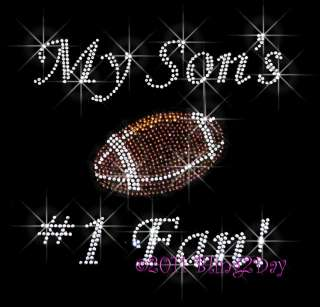 MY SONS 1 FAN RHINESTONE IRON ON TRANSFER HOT FIX MOM