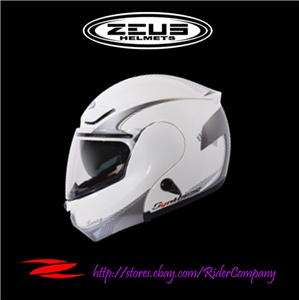ZEUS ZS 3000A Glossy GG6 White Modular Flip Up Helmet QRB size X Large