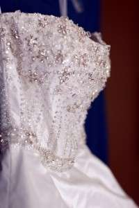 STEPHEN YEARICK WHITE BEADED WEDDING BRIDAL BALL GOWN DRESS 2 / 4