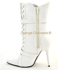 PLEASER Womens Stilettos White Ankle High Boots Heels 885487218885