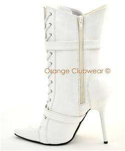 PLEASER Womens Stilettos White Ankle High Boots Heels 885487218885