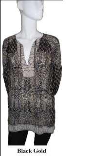 Tolani Tanya Black/Gold Silk Tunic Blouse NWT