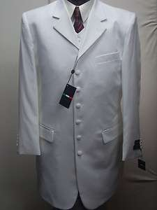 MENS 3PC WHITE DRESS ZOOT SUIT SIZE 44R NEW SUITS