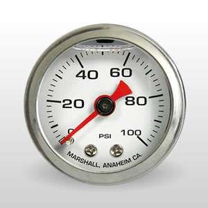 Fuel Pressure Gauge 0 100 PSI Liquid Filled, White Dial
