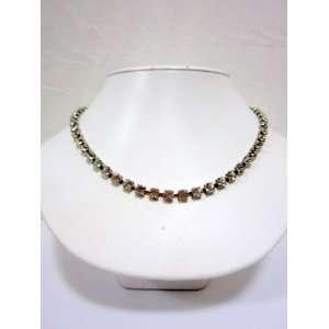 Yosca womens clear crystal rhinestone silver chain necklace Jewelry