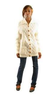 Vintage 70s Cream Cable Knit Fishermans Cardigan Sweater