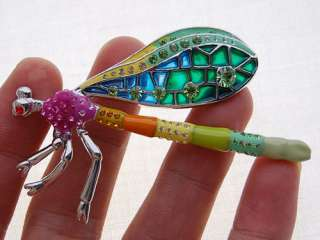 Strike Emerald Fuchsia Crystal Rhinestone Damselfly Dragonfly Pin