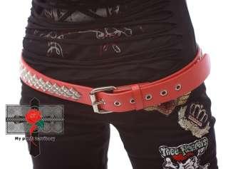 RED HOT CHILI Rock RHOMBUS Studs HELL CAT Leather Belt