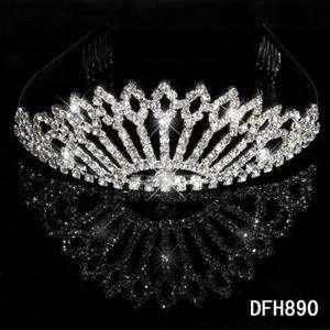 New Wedding Bridal crystal veil tiara crown Headband HG0890