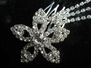 Bridal Party Wedding Clear Crystal Flower Floral Silver Hair Comb Head