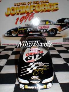 NHRA JOHN FORCE 124 Diecast Funny Car D of Year SIGNED