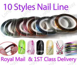 10 Nail Art Acrylic Gel Tips Striping Tape Decoration