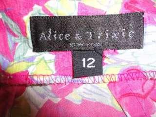 Alice & Trixie Vibrant Pink Rose Floral Print Cotton Halter Dress 12