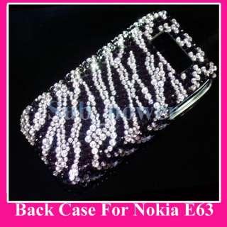 Black Zebras Bling Back Hard Case Cover for Nokia E63