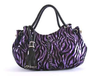 Louise PURPLE Velvet Zebra Design Tasseled Oversized Satchel Bag Purse