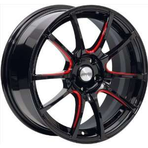 17x7.5 Axis Xcite (Gloss Black w/ Red Grooves) Wheels/Rims
