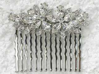 CLEAR CRYSTAL HAIR COMB 4 BRIDAL BRIDESMAID WEDDING PROM Q76