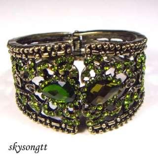 Green Rhinestone Crystal Bangle Cuff Bracelet B1069G
