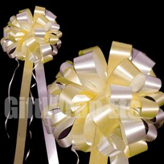 10 BIG PINK IVORY WEDDING PULL BOWS PEW DECORATIONS