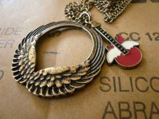 Antiqued Bronze Angel wings Guitar Pendants necklace.