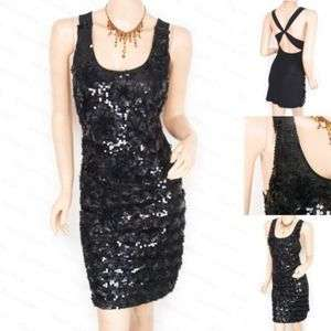 Black Sequins Cross Straps Party Evening Dress S M L XL
