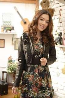 Womens Slim Round Neck Zip Up Leather Jacket Beige Z06