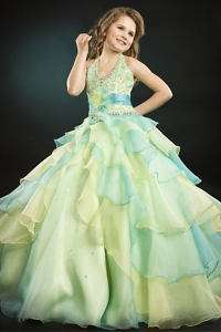 Perfect Angels 1345 Aqua Yellow Pageant Gown Dresss 6