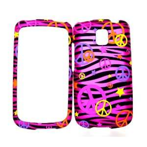 Colorful Peace Sign on Hot Pink Zebra Rubberized Snap on