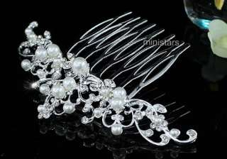 Bridal Wedding Flower Crystal Faux Pearl Hair Comb AT1443
