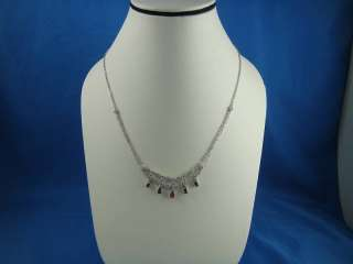 BEAUTIFUL 14K WHITE GOLD, DIAMOND AND RUBY NECKLACE
