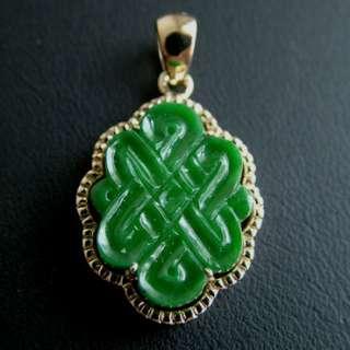 Green A Jadeite Jade Chinese 14k Yellow Gold Pendant
