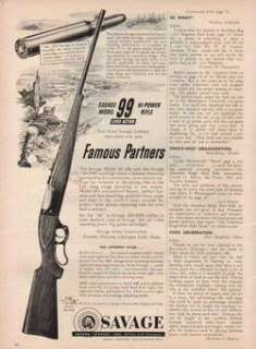 1952 SAVAGE MODEL 99 HI POWER LEVER ACTION RIFLE AD