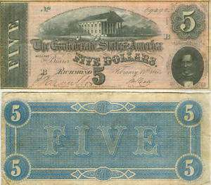 1864 $5 CONFEDERATE (CSA) CIVIL WAR CURRENCY NOTE NICE