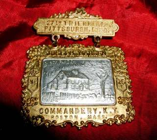 WARREN Old MASONIC TEMPLAR JEWEL 1898 27th Triennial KT