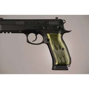 Hogue CZ 75   CZ 85 Flames Aluminum   Green Anodized 75131