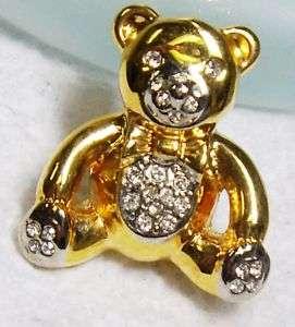 Vintage Goldtone Rhinestone TEDDY BEAR Pin Brooch