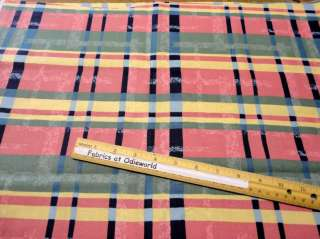 107 Bright pink blue yellow plaid cotton fabric 1 yd