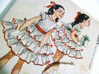 VTG McCalls PATTERN Girls Party Dress with Ruffles sz6