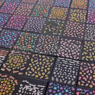 10 x Flower 3D Nail Art Tips Decals Stickers Manicure
