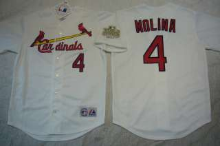 St Louis Cardinals 2011 WORLD SERIES YADIER MOLINA Sewn Jersey WHITE
