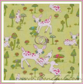 BOOAK Fabric Michael Miller BITE ME Flower Daisy Lime Green Red Apple